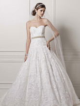 Oleg Cassini Style CWG633  Strapless Ball Gown with All Over Lace Appliques