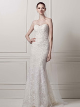 Oleg Cassini Style CWG641  Strapless Lace Sheath Gown with Pearl Beading