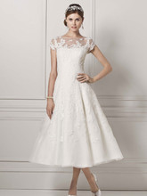 Oleg Cassini Style CMK513  Cap Sleeve Wedding Dress with Illusion Neckline