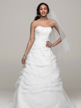 David's Bridal Collection Style L9479  Organza Draped Pick-up with Beaded Lace Empire