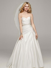 David's Bridal Collection Style MB3651  Strapless Satin A Line Gown with Ruched Bodice