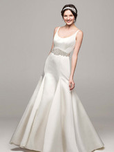 David's Bridal Collection Style MB3652  Satin Trumpet Gown with Button Back Detail