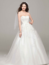 David's Bridal Collection Style MK3666  Strapless Tulle Ball Gown with Beaded Appliques