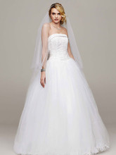 David's Bridal Collection Style NT8017  Strapless Tulle Ball Gown with Beaded Satin Bodice