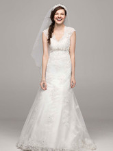 David's Bridal Collection Style T3299  Cap Sleeve Lace Over Satin Gown with Illusion Back