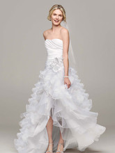 David's Bridal Collection Style T3505  Strapless Organza High Low Ruffle Skirt Gown