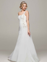 David's Bridal Collection Style V3398  One Shoulder Chiffon Gown with Floral Appliques