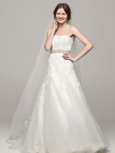 David's Bridal Collection Style V3469  Strapless Tulle Wedding Gown with Beaded Appliques