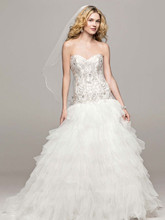 David's Bridal Collection Style V3665  Strapless Tulle Ball Gown with Ruffled Skirt