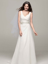 David's Bridal Collection Style V3677  Chiffon A Line Gown with Beaded Waist