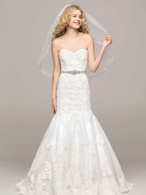 David's Bridal Collection Style V3680  Sweetheart Trumpet Gown with Beaded Sash