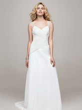 David's Bridal Collection Style V3688  Chiffon A Line Gown with Beaded Cap Sleeve Detail