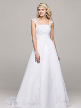 David's Bridal Collection Style V9010  A-line with Chiffon Split Front Overlay
