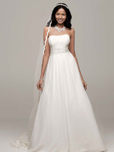 David's Bridal Collection Style V9743  Chiffon soft A-line with Beaded Lace on Empire