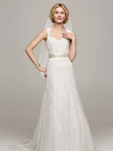 David's Bridal Collection Style VW9768  Lace Cap-sleeve Trumpet with Keyhole Back and Sash