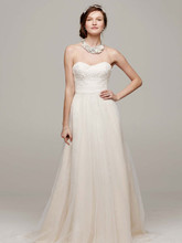 David's Bridal Collection Style WG3586  Strapless A Line Beaded Lace Tulle Gown