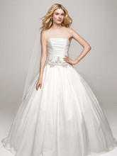 David's Bridal Collection Style WG3630  Strapless Satin Ball Gown with Beaded Accents