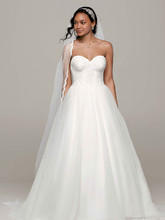 David's Bridal Collection Style WG3633  Strapless Ball Gown with Lace Corset Bodice