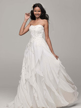 David's Bridal Collection Style WG3647  Strapless A-Line Chiffon Gown with Ruffle Skirt