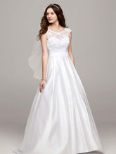 David's Bridal Collection Style WG3678  Cap Sleeve A Line Gown with Illusion Neckline