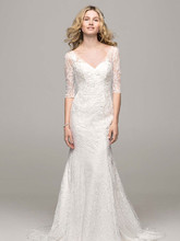 David's Bridal Collection Style WG3684  3/4 Sleeve All Over Lace Trumpet Gown