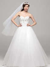 David's Bridal Collection Style WG3693  Strapless Tulle Ball Gown with Beaded Bodice
