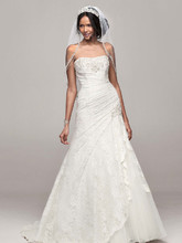 David's Bridal Collection Style YP3344  Strapless Lace Fit-and-Flare Gown with Side Split