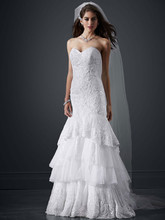 David's Bridal LUXE Style PWG3602  Sweetheart Fit and Flare Gown with Tiered Skirt