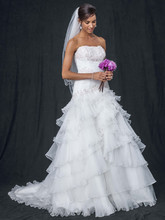 David's Bridal Collection Style WG3453  Pleated Ball Gown with Tiers and Lace-Up Back