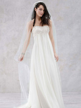 Galina Style KP3695  Crinkle Chiffon Gown with Lace Applique