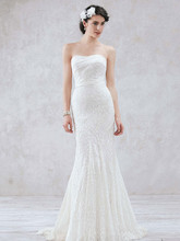 Galina Style WG3381  Allover Lace Slim Gown with Assyetrical Seaming Detail