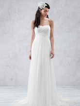 Galina Style WG3438  Swiss Dot Tulle Empire Waist Soft Wedding Gown