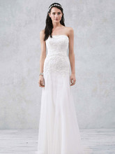 Galina Style WG3492  Strapless Tulle Wedding Gown with Lace Embroidery