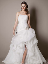 Galina Signature Style SPK470  Organza and Tulle High-Low Gown with Beaded Flower