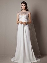 Galina Signature Style SRL644  Cap Sleeve Crepe Sheath Gown with Beaded Bodice