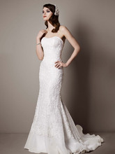 Galina Signature Style SWG400  Lace Over Charmeuse Gown with Soutache Detail