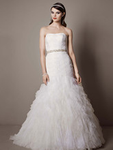 Galina Signatre Style SWG523  Gown with Basket Woven Bodice and Ruffled Skirt
