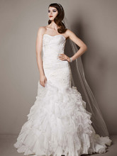 Galina Signature Style SWG560  Wedding Gown with Lace Appliques and Ruffled Skirt