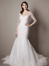 Galina Signature Style SWG624  3/4 Sleeve Lace Trumpet Gown with Godet Skirt