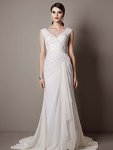 Galina Signature Style SWG625  Chiffon Sheath Gown with Sequin Tulle Bodice
