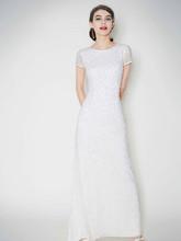 DB Studio Style 061896890  Cap Sleeve Long Beaded Sequin Dress