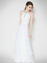 DB Studio Style EJ4M6307  Long Chiffon Dress with Keyhole Detail