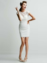 DB Studio Style 231M28570  Short Lace Cap Sleeve Dress with Exposed Zipper
