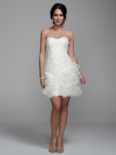 DB Studio Style SDWG002  Short Strapless Lace Dress with Feather Trim