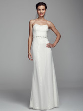 DB Studio Style SDWG043  Long Strapless Sheath Dress with Beaded Waist