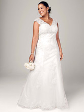DB Woman Style 9T3299  Cap Sleeve Lace Over Satin Gown with Illusion Back