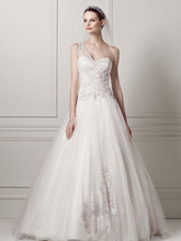 Oleg Cassini Style CKP421  One Shoulder Tulle Ball Gown with Lace Appliques