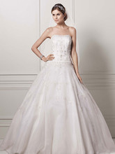 Oleg Cassini Style CT258  Satin Bodice with Organza Skirt and Beading