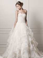 Oleg Cassini Style CWG568  Strapless Ball Gown with Organza Ruffle Skirt