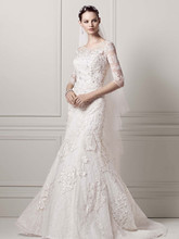 Oleg Cassini Style CWG638  3/4 Sleeve Lace Trumpet Gown